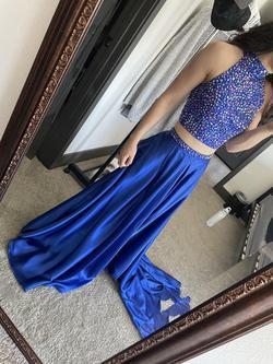 Sherri Hill Blue Size 0 Beaded Top Train Halter Side slit Dress on Queenly