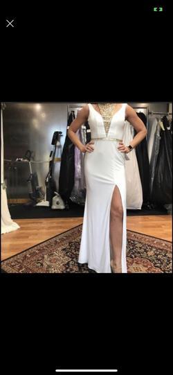 Jolene White Size 8 Gold Side slit Dress on Queenly