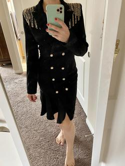 Shein Black Size 4 Gold Cocktail Dress on Queenly