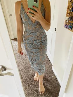 Dress the Population Blue Size 2 Nude Lace Cocktail Dress on Queenly