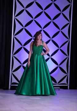 MacDuggal  Green Size 4 Emerald Spaghetti Strap Halter Ball gown on Queenly