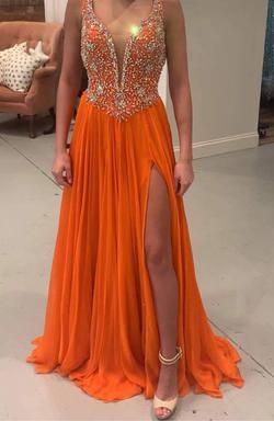 Custom Jonathan kayne NWT Orange Size 00 Plunge Sheer Halter Train Dress on Queenly