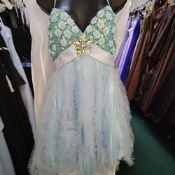 Style HBP189 Terani Blue Size 6 Ruffles V Neck Fun Fashion Spaghetti Strap Cocktail Dress on Queenly