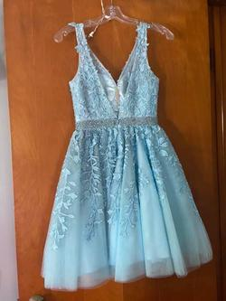 Sherri Hill Blue Size 00 Cocktail Lace Backless Sequin A-line Dress on Queenly