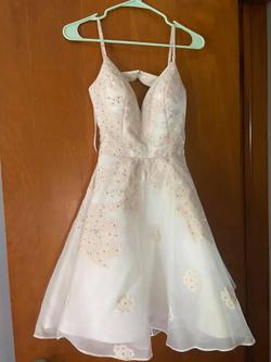 Jovani White Size 00 Sorority Formal Plunge Spaghetti Strap Halter A-line Dress on Queenly