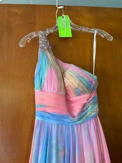 Sherri Hill Multicolor Size 00 Sequin Spaghetti Strap One Shoulder Train Dress on Queenly