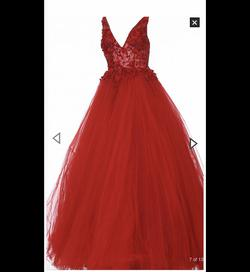 Jovani Red Size 2 Tulle Plunge Ball gown on Queenly