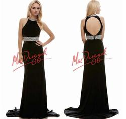 Mac Duggal Black Size 8 Jewelled High Neck Prom Cut Out Straight Dress on Queenly