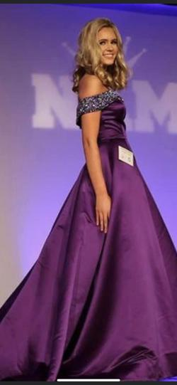 Jovani Purple Size 2 Sequin Train Ball gown on Queenly