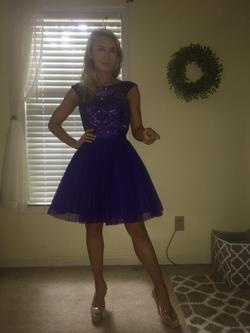 Sherri Hill Purple Size 0 Sheer Flare Cocktail Dress on Queenly