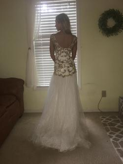 Sherri Hill White Size 00 Pageant Gold Fitted Train Dress on Queenly