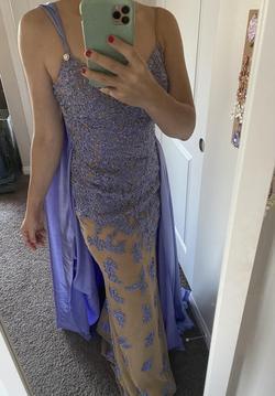 Sherri Hill Purple Size 0 Nude Spaghetti Strap Straight Dress on Queenly