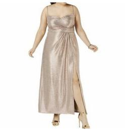 Gold Size 16 Side slit Dress on Queenly