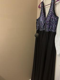 Sydneys Closet Multicolor Size 16 Plunge Sheer Train Dress on Queenly