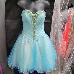 Style 9283 Morilee Blue Size 2 Mini Strapless Sweetheart Cocktail Dress on Queenly