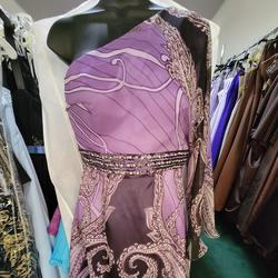 Style 372 Frenchy Purple Size 6 Print Prom One Shoulder Cocktail Dress on Queenly