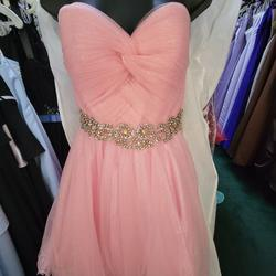 Style 27808 Hannah S Pink Size 2 Prom Tulle Cocktail Dress on Queenly