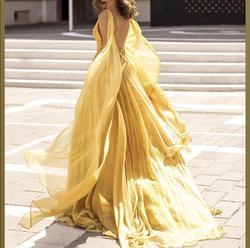Tarik Ediz Orange Size 8 Prom Pageant V Neck Ball gown on Queenly