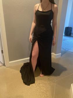 Ashley Lauren Black Size 2 Fitted Train Spaghetti Strap Halter Side slit Dress on Queenly