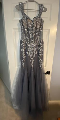 Jovani Blue Size 10 Pageant Sheer Mermaid Dress on Queenly