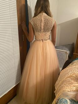 Tiffany Pink Size 0 Peach Ball gown on Queenly