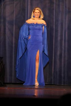 Johnathan Kayne Blue Size 12 Pageant Sheer Straight Dress on Queenly
