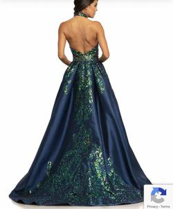 Johnathan Kayne Blue Size 0 Emerald Halter Train Dress on Queenly