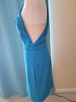 Jovani Blue Size 4 Sorority Formal Fitted Sheer Plunge Cocktail Dress on Queenly