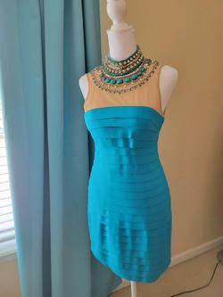 Sherri Hill Blue Size 4 High Neck Tall Height Sequin Cocktail Dress on Queenly
