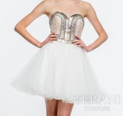 Style 151P0009 Terani White Size 2 Sweetheart Sheer Cocktail Dress on Queenly