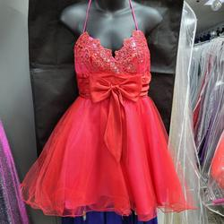 Style 562476 Josh and Jazz Pink Size 2 V Neck Tulle Spaghetti Strap Cocktail Dress on Queenly