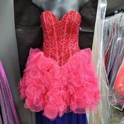 Style 9263 Morilee Pink Size 2 Prom Sweetheart Ruffles Cocktail Dress on Queenly