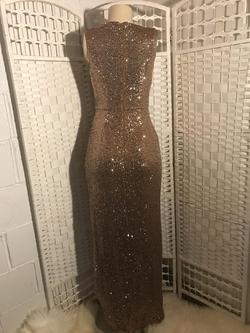 Calvin Klein Gold Size 2 V Neck Sequin Straight Dress on Queenly