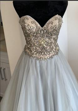 Terani Couture Silver Size 2 Sequin Grey Ball gown on Queenly