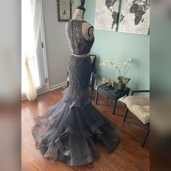 Jovani Silver Size 4 Tulle Mermaid Dress on Queenly