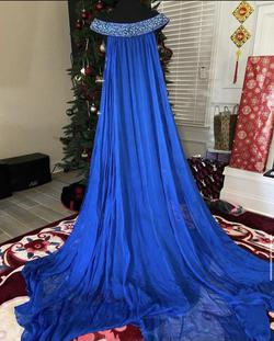 Sherri Hill Blue Size 4 Plunge A-line Dress on Queenly