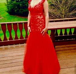 Sherri Hill Red Size 8 Prom Pageant Train Dress on Queenly
