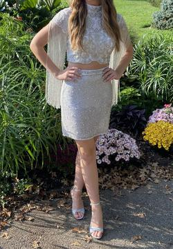 Sherri Hill White Size 6 Fringe Two Piece Cocktail Dress on Queenly