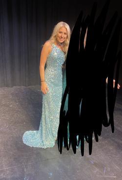 Sherri Hill Blue Size 0 Sequin Side slit Dress on Queenly