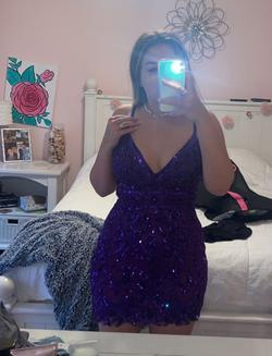 Sherri hill Purple Size 10 Corset Cocktail Dress on Queenly