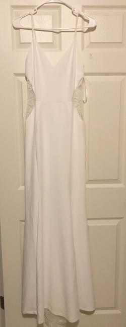 Windsor White Size 4 Sheer Mermaid Dress on Queenly