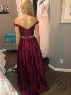 Macy designer Red Size 2 Pageant Gold Ball gown on Queenly