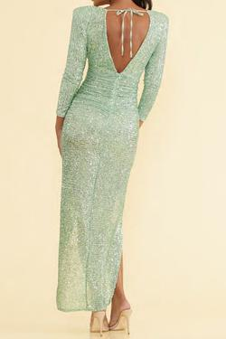 Dressed by McKenzie Rae Light Green Size 2 Sequin Side slit Dress on Queenly