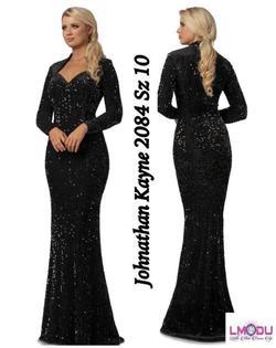 Johnathan Kayne Black Size 8 Sweetheart Velvet Sequin Straight Dress on Queenly
