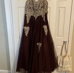 Say yes to the prom Gold Size 18 Plus Size Ball gown on Queenly