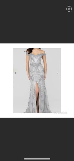 Terani Couture Silver Size 2 Ball gown on Queenly