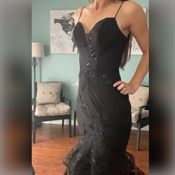 Bariano Black Size 2 Pageant Sweetheart V Neck Mermaid Dress on Queenly