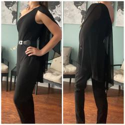 Lauren Ralph Lauren Black Size 2 Belt Cape Jumpsuit Dress on Queenly