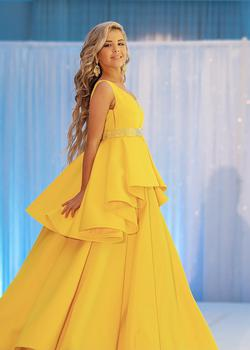 CUSTOM Yellow Size 0 Ball gown on Queenly