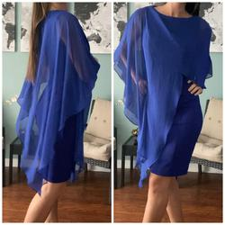 Eliza J Blue Size 2 Cape Sheer Cocktail Dress on Queenly